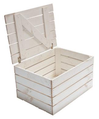weiße mittlere Holztruhe