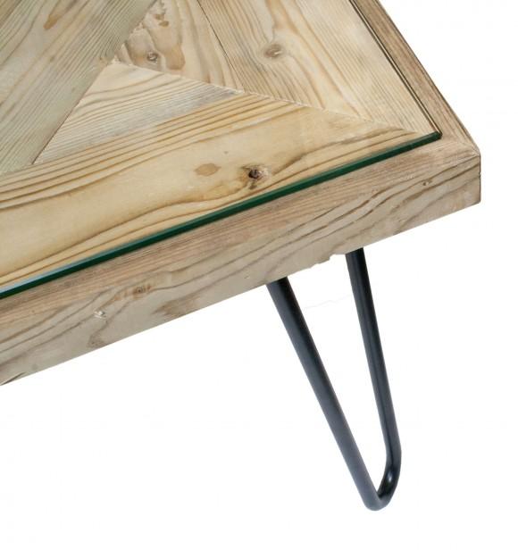 exklusiver couchtisch aus alten apfelsteigen auf hairpin legs und glasplatte 110x73x38 5cm. Black Bedroom Furniture Sets. Home Design Ideas