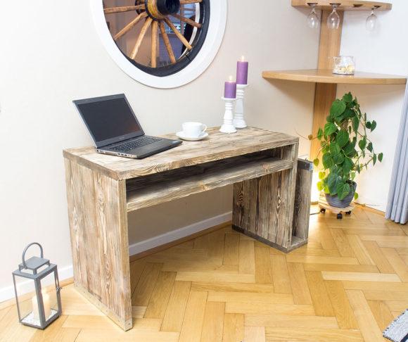 Vintage Schreibtisch aus Bohlenholz