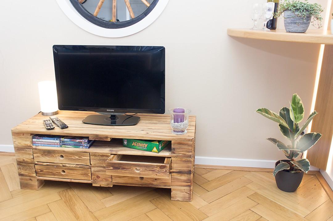 vintage lowboard tv kommode aus palettenholz im industrial style 120x47x44cm. Black Bedroom Furniture Sets. Home Design Ideas